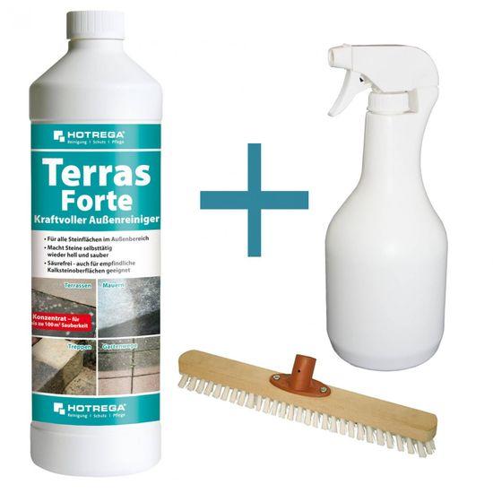 HOTREGA Terras Forte Außenreiniger 1L Konzentrat SET + Keulensprühflasche 1L + Schrubber 40 cm