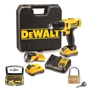 DeWALT Akku-Bohrschrauber Set DCD710D2F-QW 10,8V 2 Ah + Bitset 32 tlg.+ Schloss 1