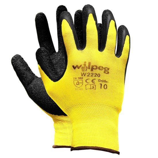 WILPEG Nylon-Strickhandschuhe Latex W2220