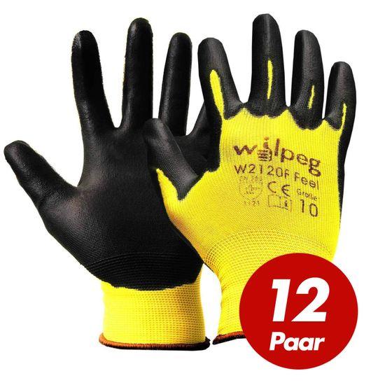 Nylon-Strickhandschuhe PU Feel W2120F VPE 12  Paar