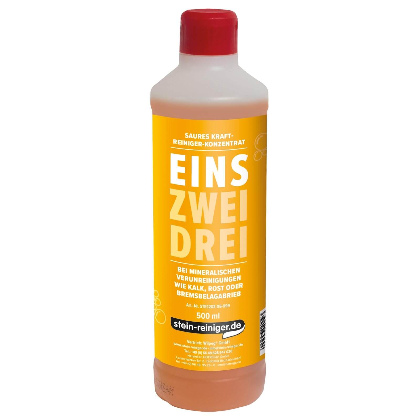 EINS - Saurer Reiniger 500 ml Konzentrat entfernt Kalk, Rost, Kesselstein, Zementschleier, Kalkseife uvm.
